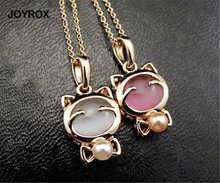 JOYROX Fashion Smile Lucky Kitty Cat Pendant Women Necklace Long Chain Gold Color Metal Clavicle Chain Beads Opal Fine Jewelry