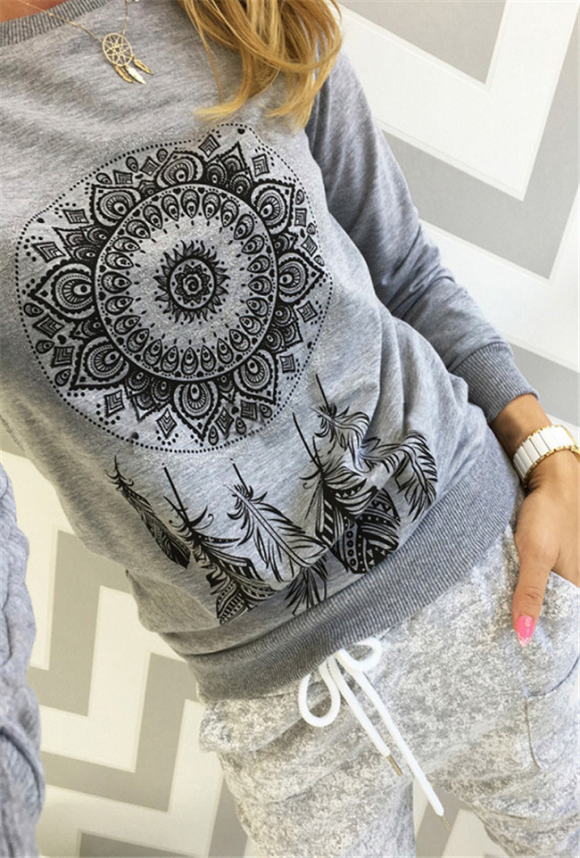 Women autumn capless sweatshirts full sleeve female pink hoody Dreamcatcher printing funny plus size hoodies camiseta pullovers 6