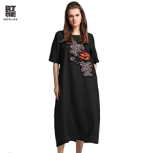 Outline Summer Women Long Dress Big Size O-neck Short Sleeve Ladies Dress Of Pockets Retro Embriodered Patch Dresses L172Y017