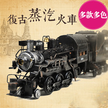 Zakka bontique antique iron metal steel retro creative Steam train home adornment iron locomotive car model home decoration toy(China)