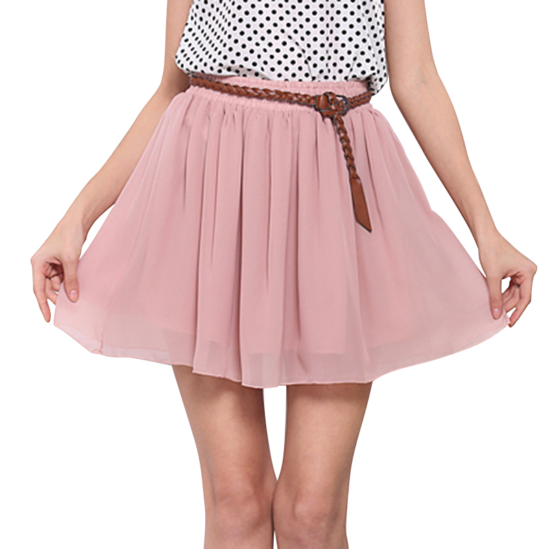 2016 Casual Summer Women Chiffon Mini Pleated Sexy Skirt Short Skirts Women High Waist Skirts TY0025