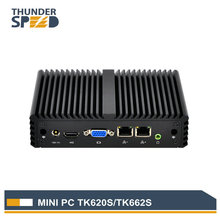 Thunderspeed Fanless Mini PC 2 LAN J1900 Quad Core 1080P PFsense Firewall Router Win10 Linux