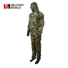 Outdoor Tactical Woodland Ghillie Suit Jacket Pants Kit Airsoft Military 3D Leaf Camouflage Camo Uniform Hunting Clothing