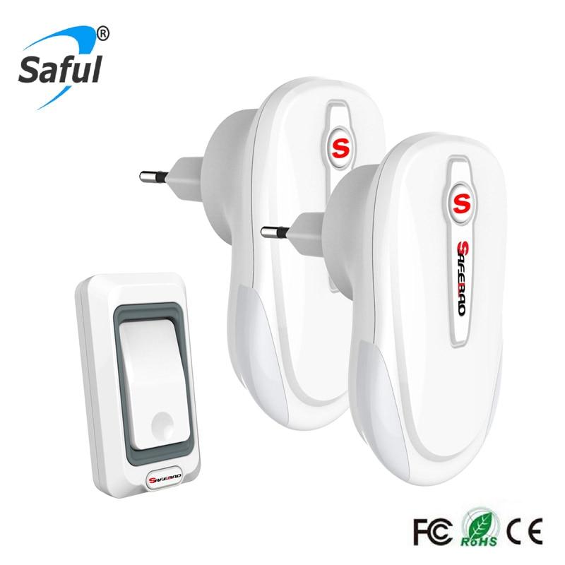 Saful wireless doorbell white remote control doorbell Waterproof LED light EU plug 2 indoor receiver +1outdoor transmitter<br>