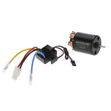 GoolRC 540 27T 4 Poles Brushed Motor and WP-1060-RTR 60A Waterproof Brushed ESC Speed Controller with 5V/2A BEC for 1/10 RC Car