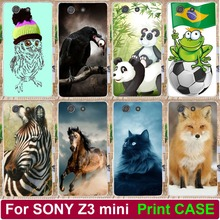Cool Animal Wolf Parrot Cat Horse Elephant Case For Sony Xperia Z3 compact z3 mini D5803 D5833 Hood Phone Case Shell Back Cover
