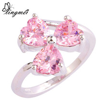 lingmei Alluring Sweet Heart Cut Pink CZ  Silver Color Ring Fashion Popular Women Gift Size 6 7 8 9 10 Free Ship Wholesale