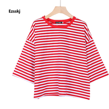 Ezsskj Womens Ladies Tennis Golf Training Shirts Cotton O Neck Red Striped T Shirts Fit Sports Tee Raglan Tops Black Blue