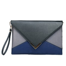 LM1611 - MISS LULU WOMEN LEATHER LOOK PATCHWORK ENVELOPE CLUTCH BAG BLACK&GRAY&NAVY(China)
