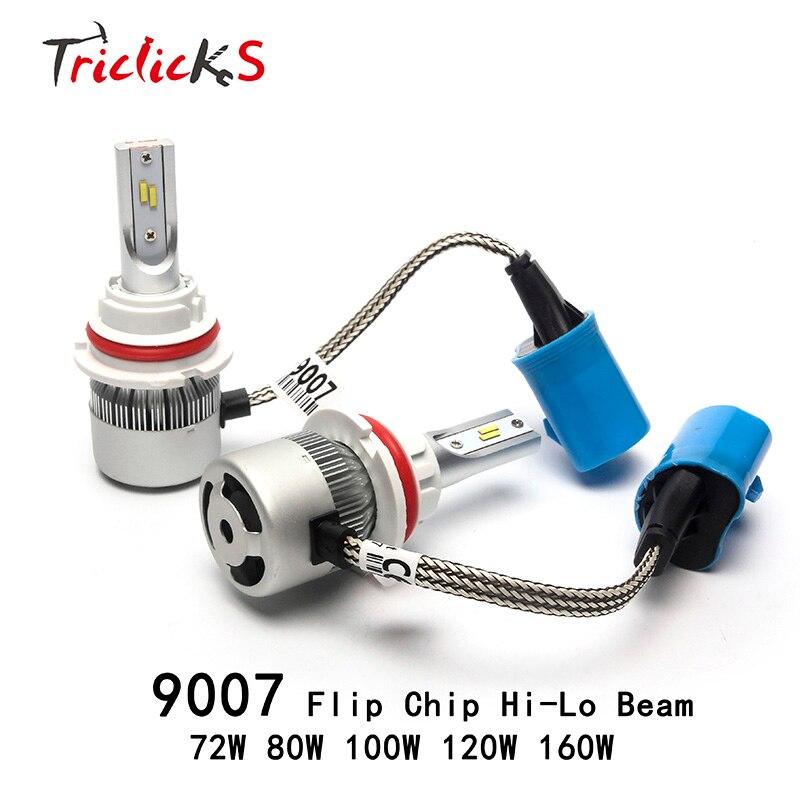 Triclicks 9007/HB5 12V High Low Headlight Bulb 72W 80W 100W 120W 160W 9007 Flip Chip Headlights For Audi Jeep Dodge Chevrolet VW<br>