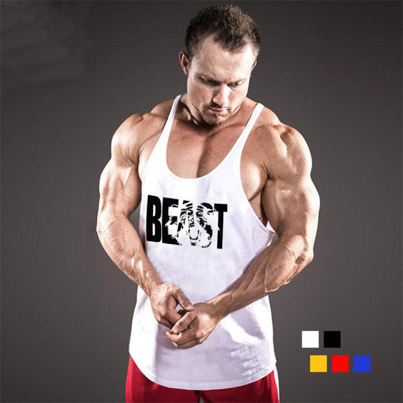 Brand Fitness Clothing Bodybuilding Stringer Tank Top Men Cotton Curved hem Y Back Sleeveless shirt Workout Beast gyms Singlets(China)