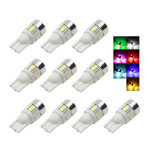 10 Pieces T10 W5W Car Lights 6 SMD 5630 LED T10 Lamp 194 168 DC 12v Car Auto Light Bulbs For car styling