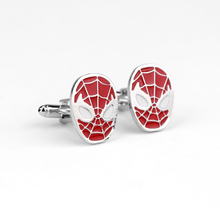 Classic Movie Superhero Spider Man Cufflink Two Colors Black and Red High Quality Cufflink for Men's Shirt