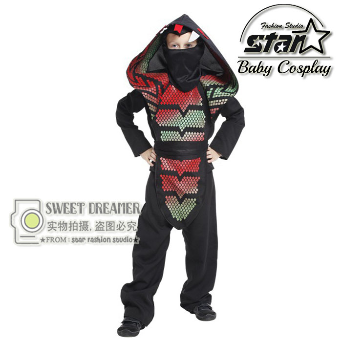 Children Halloween Costumes Boys Stage Performances Cos the Cobra Ninja Clothes Kids Masquerade Outfit Anime Cosplay Wear<br>