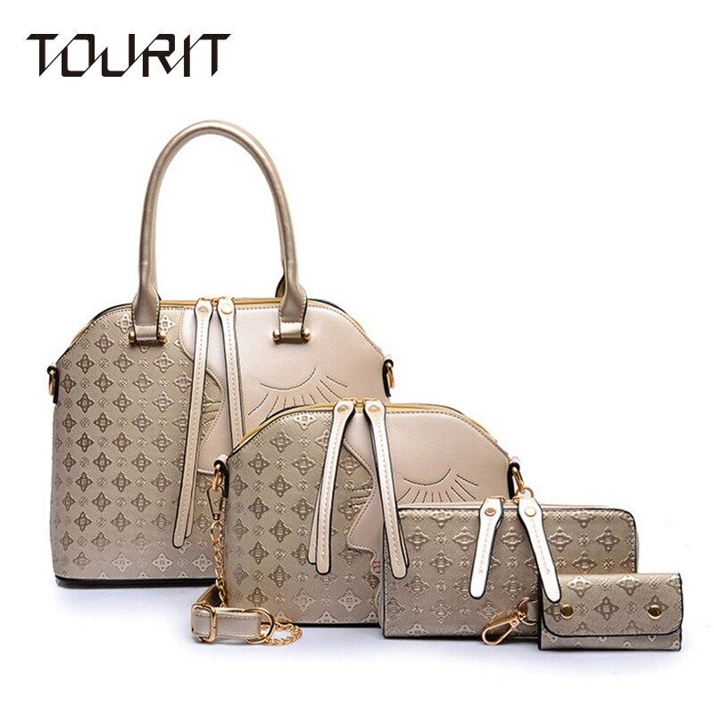 Tourit 4 Pcs/Set Face Designer Women Bags Leather Purses And Handbags High Quality Shoulder Bag Ladies Crossbody Bag Female<br><br>Aliexpress