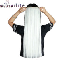 S-noilite Long White 66CM Real Thick Cospaly Hairpiece Clip in Hair Extensions One Piece Straight Natural Hair Extension(China)