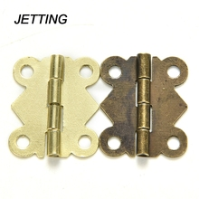 JETTING 10pcs Fashion Design bronze Yellow Color Mini Butterfly Hinges Cabinet Drawer Jewelry Box DIY Repair(China)