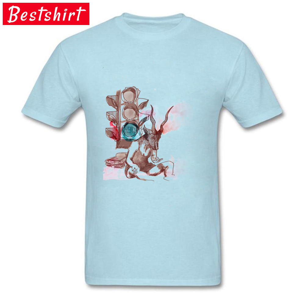 Antilope Girl in the Street Casual Tops Tees Short Sleeve for Men 100% Cotton Fabric Crewneck T Shirts Normal Top T-shirts Funky Antilope Girl in the Street light