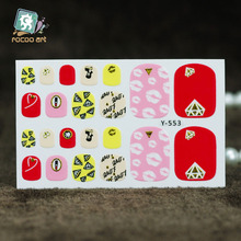 Y5553 New Fashion Auto Stick Toe Nail Art Foil Stickers Colorful Red Diamond Kiss Manicure Adhesive Decal Nail Wraps