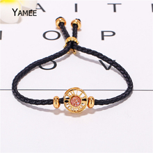 Unique Round Champagne Natural Stone Druzy Quartz Cuff Bracelets Golden Plated Leather Rope Adjust Handmade Bracelet For Women(China)