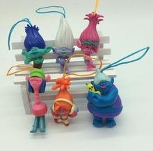 New 6pcs/set cartoon Trolls pvc Charm Strap For Cell Phone Action Figures Toys Dolls
