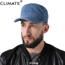 CLIMATE 2017 Unisex Blank Denim Flat Top Military Army Caps Adjustable Jean Wear Hat Casquette Gorras Bones For Men Women