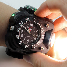 Tactical CREE XPE LED Flashlight Wrist Watch touch Lamp light Dial Display Rechargeable 5w Wristlight Outdoor Sports
