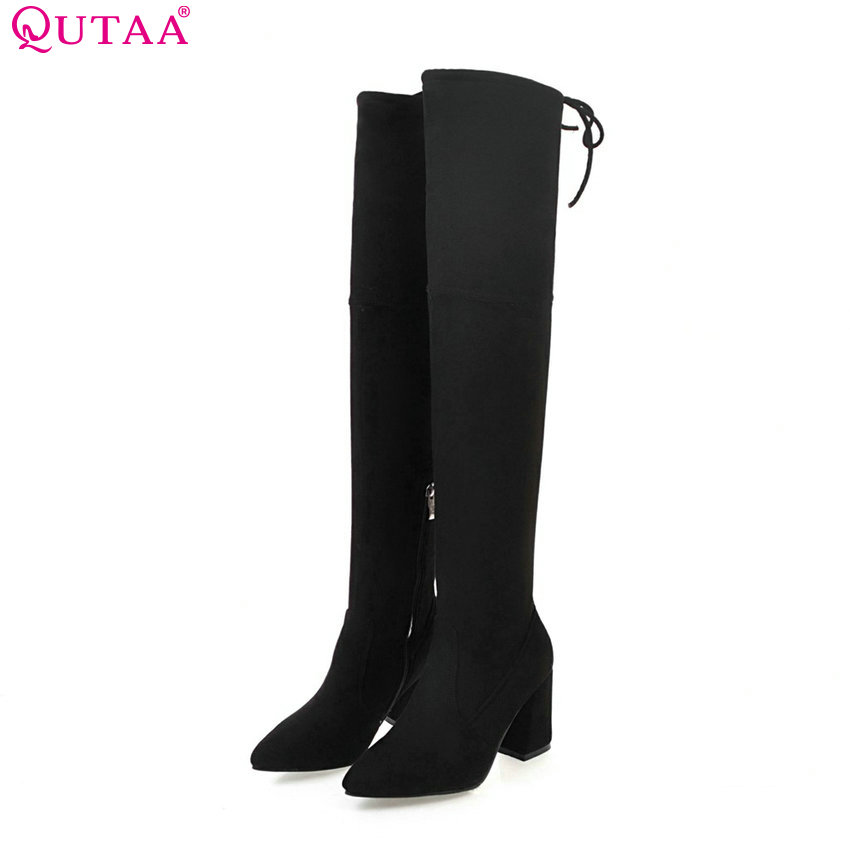 QUTAA 2017 Women Over The Knee High Boots Square High Heel Fashion Pointed Toe Zipper Design All Match Women Boots Size 33-43<br>