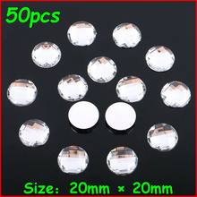 50pcs/lot New 20*20mm White Shiny Big Earth Round Rhinestone No Hole Crystal Stone Women DIY Jewelry For Wedding Dress Clothes(China)