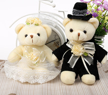 a pair of small cute plush teddy bear toys lovely wedding bear toys gift about 25cm(China)