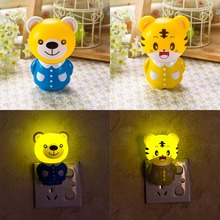 New Novelty Household Night LIghting Lamp New Creative Colorful Animal Design Cute Bear / Tiger Emotional lamp Baby bedlight(China)