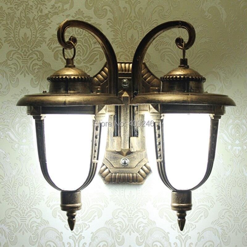 European-style Villas LED Outdoor Light Copper Scagliola Double Waterproof Outdoor Wall Lamp<br><br>Aliexpress
