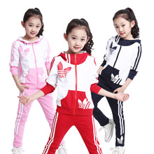 girls sports suit children jacket and pants hooded autumn girls Clothing Sets for boy Sports Wear  tracksuit set  kids clothes.