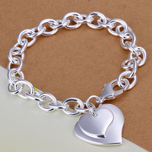 wholesale 925 stamp silver plated Fashion bracelet/bangle Jewelry trendy women double heart charm bracelets Free shipping LKH279(China)