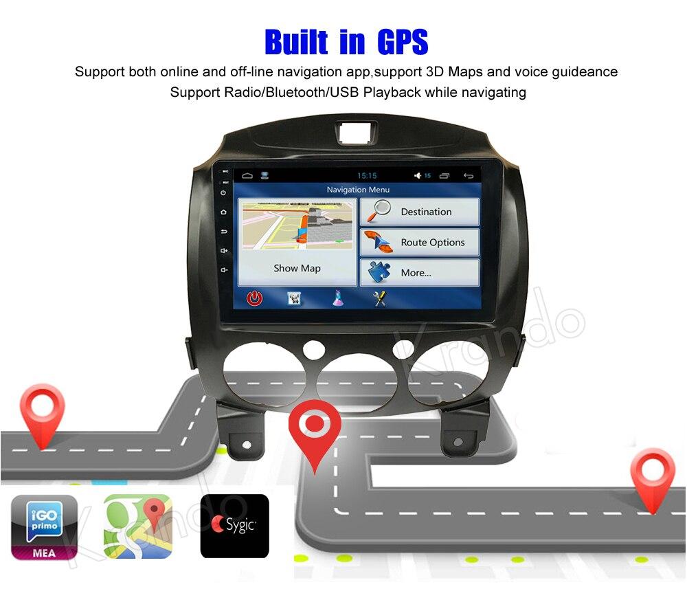 Krando mazda 2 Android car radio gps navigation multimedia system (5)