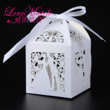 50Pcs Bride and Groom Laser Cut Candy Box Wedding Favors Box Wedding Gifts For Guests Party Decorations Party Supplies(5 colors)(China)