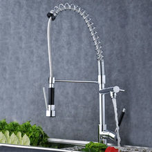 European design Luxury Chrome Brass Spring Kitchen Faucet Single Handle Hole Vessel Sink Mixer Tap(China)
