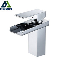 Polished Chrome Waterfall Spout Bathroom Sink Faucet Set Deck Mount One Hole Basin Mixer Taps Free Shipping