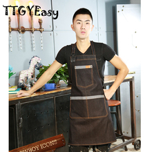 Aprons Denim cute Hot Sale Cotton Cafe fashion Cowboy Uniform Unisex Aprons for Woman Men's Kitchen Chef Waiter Cooking WQ011
