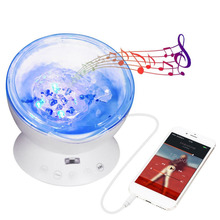 Sanheshun Card Readable Crystal Relaxing Ocean Mood Wave Projector Music LED Night Light Lamp Baby Sleep Gift Remote Control(China)