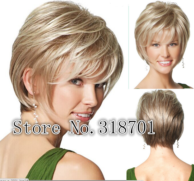 Natural Blonde Straight Short Wig For Woman Synthetic Hair wigs Free shipping<br><br>Aliexpress