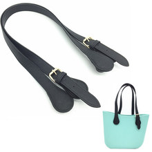 1 pair 65 70 cm PU leather blue flower handle for your obag replaceement for justo women bag adjustable handle