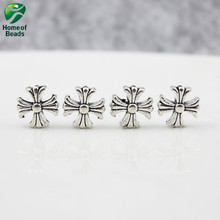 2017  Fashion antique silver DIY Cross Beads Pendants for Jewelry Making Handmade 12x12mm 30pcs ZA1262