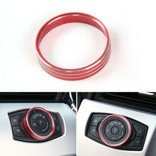 For Ford Mustang F150 Auto Front Headlight Adjust Knob Button Ring Cover Trim Black/Red/Blue Car Interior Styling 2015 2016(China)