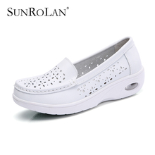 SUNROLAN 2017 Spring Women Flat Platform Cut-out Shoes Fashion White Nursing Shoes Slip On Loafers Women Shape Up Shoes PP8015