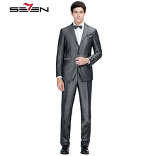 Seven7 Brand 2017 New Wedding Suits Men's Formal Blazer High Quality Comfort Suit Flat Collar Suit Grace Classic Suits 705C1240(China)