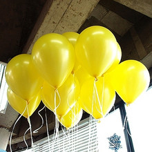10pcs/lot Thick 1.5g Latex Yellow Balloons Wedding Decorations Inflatable Air Balls Happy Birthday Party Supplies Pearl Balloons(China)