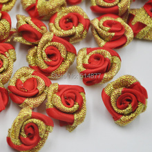 40 pcs Red Color Glitter Satin Ribbon Rose Flower DIY Craft Wedding Appliques A250
