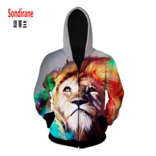 Sondirane Casual Outfits 3D Hoodies Print Lions Look At Galactic Space Graphic Sweatshirts Women/Men Long Sleeve Hip Hop Tops
