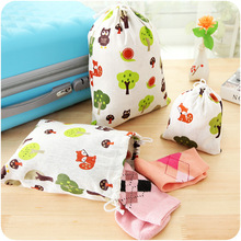 cute Signature Cotton Drawstring Backpack Baby Kids Toys Travel Shoes Laundry Lingerie Makeup Pouch Storage drawstring Bags